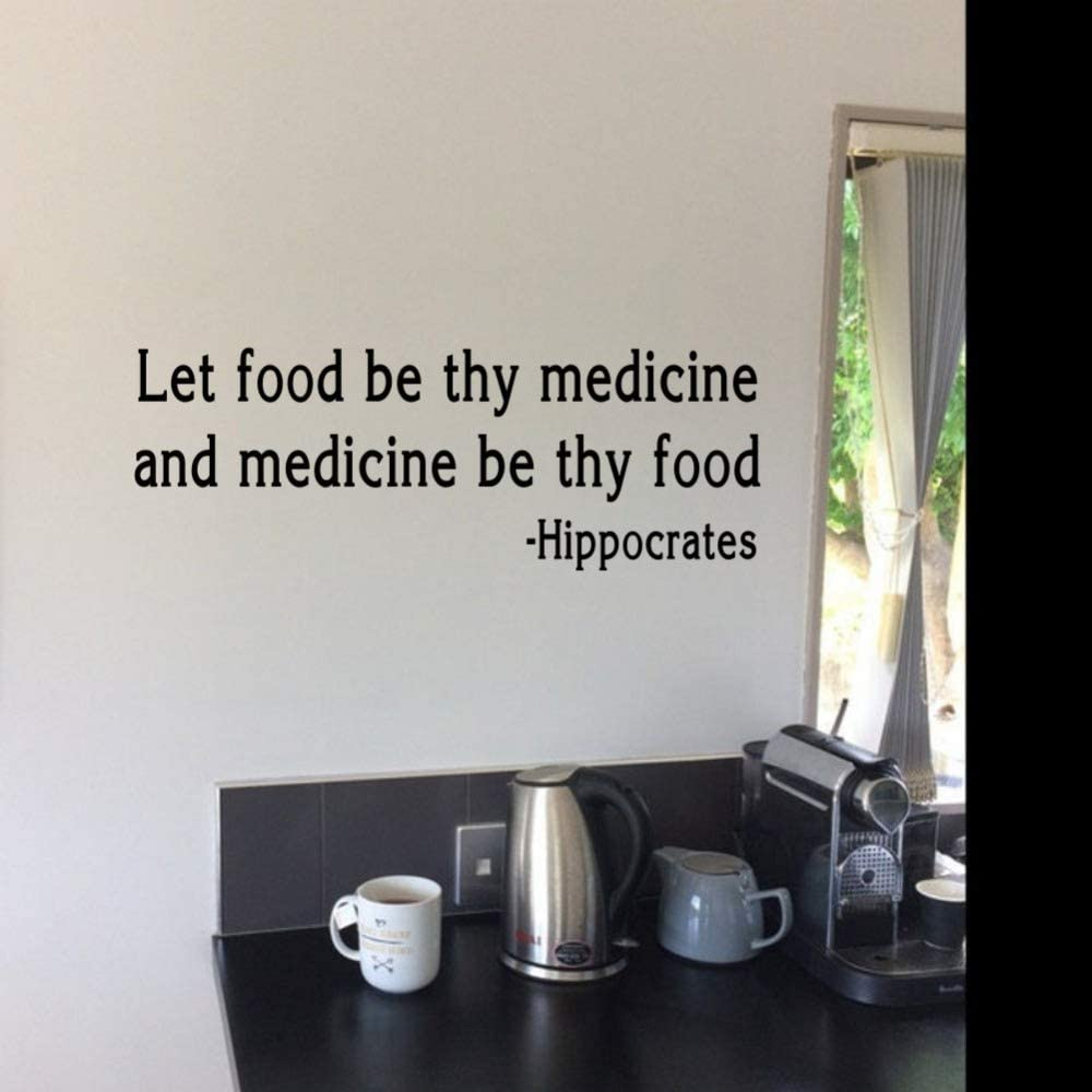 ruanger Room Wall Stickers Quotes Let Food Be Thy Medicine Health and Wellness Quote Home Decor Kitchen Decals
