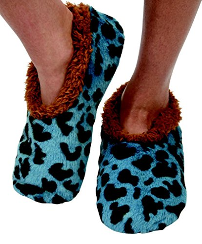 Snoozies Womens Faux Leopard Print Cozy Sherpa Fleece Non Skid Slipper Socks - Blue, X-Large