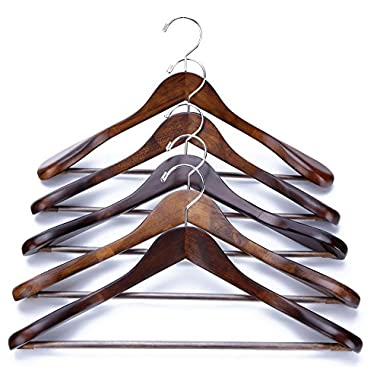 J.S. Hanger Gugertree Wooden Extra-Wide Shoulder Suit Hangers, Wood Coat Hangers Pant Hangers, Retro Finish, 5-Pack