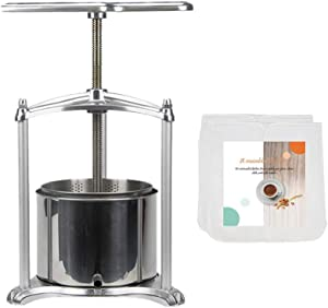 Fruit Wine Press with filter bag - 100% Natural Juice Making for Apple/Carrot/Orange/Berry/Vegetables,Food-Grade Stainless Steel Cheese&Tincture&Herbal Press