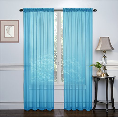 2 Pack: Ultra Luxurious High Thread Rod Pocket Sheer Voile Window Curtains by GoodGram - Assorted Colors (Blue/Turquoise)