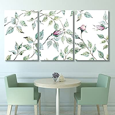 With Expert Quality, Charming Work of Art, 3 Panel Watercolor Style Roses and Leaves x 3 Panels