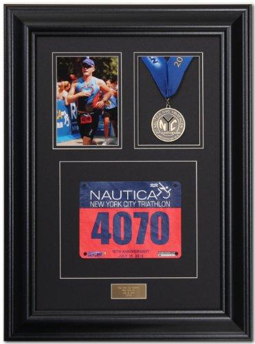 Triumph Marathon and Triathlon Photo, Finishing Medal and Race Bib Framing Kit - Satin Black by Photo Finish Frames
