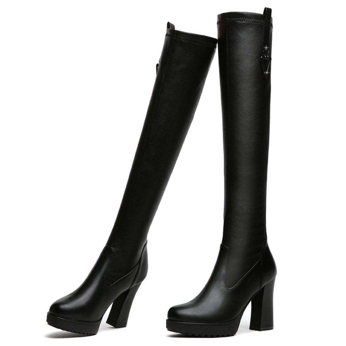 lusam feeling Womens Cambridge Knee-High Wide Calf High Heel Boot