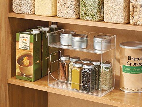 aussi pour stockage de th/é bac de mise en d/ép/ôt pour /épices couleur : tran mDesign bo/îte /à /épices pour placard ou table de cuisine /étag/ère de rangement /à 2 niveaux