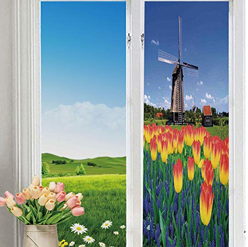 "YOLIYANA Frosted Glass Sticker Easy Removal Landscape Tulip Blooms with Classic Dutch Windmill Netherlands Countryside Spring Picture for Moving Glass Doors 70"" 24"""
