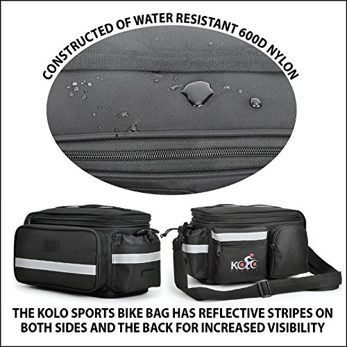 Kolo Sports Bike Pannier Bag | Durable & Waterproof Nylon With Extra Padded Foam Bottom & 3 Side Reflectors | Shoulder Strap Rack Rear Trunk Tote Bag | Strong Velcro, Zipper Pockets & Bottle Case by Kolo Sports (Image #7)