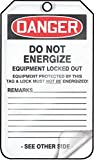 Accuform MDT169LTP HS-Laminate Lockout Tag, Legend''DANGER DO NOT ENERGIZE EQUIPMENT LOCKED OUT'', 5.75'' Length x 3.25'' Width x 0.024'' Thickness, Red/Black on White (Pack of 25)