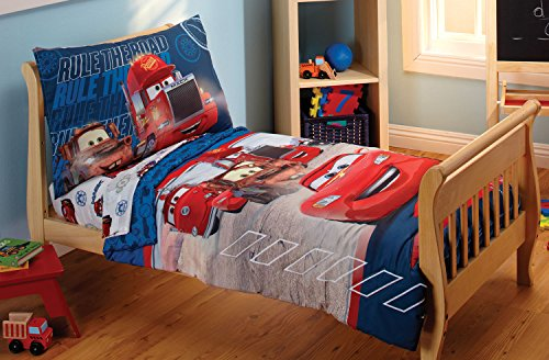 Disney Pixar Cars 4-Piece Toddler Bedding Set (Disney Cars Comforter Toddler Bed)