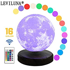 """LEVILUNA 7.1"""" /16 Colors Magnetic Levitating Moon lamp, 3D Seamless Printed &Touch Control, Magic Night Light, Creative Gifts for him, Best Business for Your Customer (7.1""""/16colors)"""