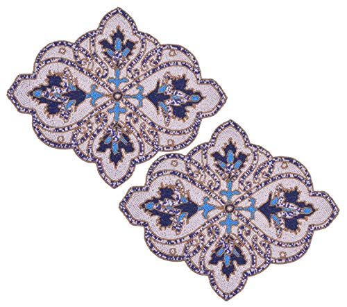Decozen Set of 2 Embroidered Beaded Placemats with Satin Back White and Blue Motif Design Unique Shaped Placemats For Dining Table Coffee Table End Table 19 x 15 inches