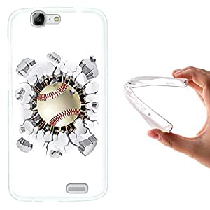 WoowCase - Funda Gel Flexible { Huawei Ascend G7 } Pelota de Beisbol Carcasa Case Silicona TPU Suave