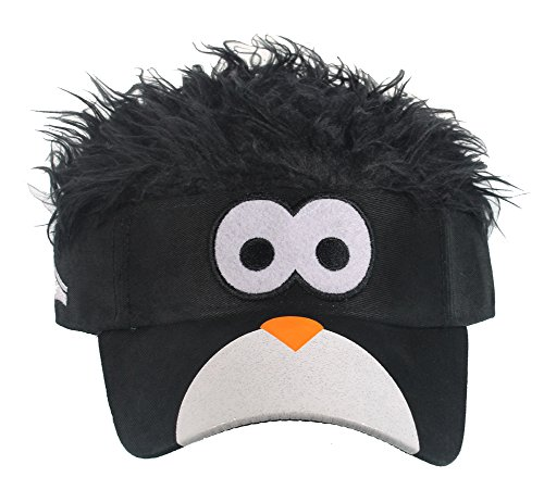 [Flair Hair Mens Penguin Face with Black Hair Visor One Size Fits Most Black] (Two Face Costume For Kids)
