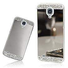 Xtra-Funky Range Samsung Galaxy S4 Slim TPU Silicone Shiny Mirror Case with Sparkly Crystal Diamante Rhinestones - Silver