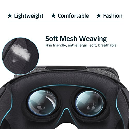 3D VR Headset With Remote Controller for 3D Movies & VR Games, Skin-Friendly Lightweight Comfortable Virtual Reality Headset with Stereo Headphone, Fit for 4.7''-6.2'' iPhone and Android Smartphones by EXCLEAD (Image #3)