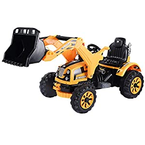 Yellow Kids Ride On 12V Battery Powered Excavator Truck With Front Loader Digger
