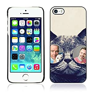 ?Colorful Printed Hard Protective Back Case Cover Shell Skin for Apple iPhone 5 / 5S ( Breaking Bad Glasses Cat )