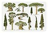 Ambesonne Tree Pet Mat for Food and Water, Hand Drawn Trees Pine Olive Cypress and Fir Tree Forest Growth Ecology Outdoors, Rectangle Non-Slip Rubber Mat for Dogs and Cats, Pale Brown Green