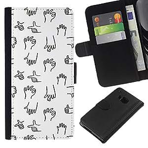 All Phone Most Case / Oferta Especial Cáscara Funda de cuero Monedero Cubierta de proteccion Caso / Wallet Case for HTC One M7 // Black Hand Minimalist Cartoon Drawing