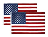 BLKWHT 2 Pack 3×5 FT American US Polyester Flag 3×5 Foot USA Flags with Copper Grommets For Sale