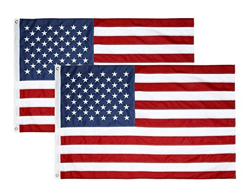 BLKWHT 2 Pack 3x5 FT American US Polyester Flag 3x5 Foot USA