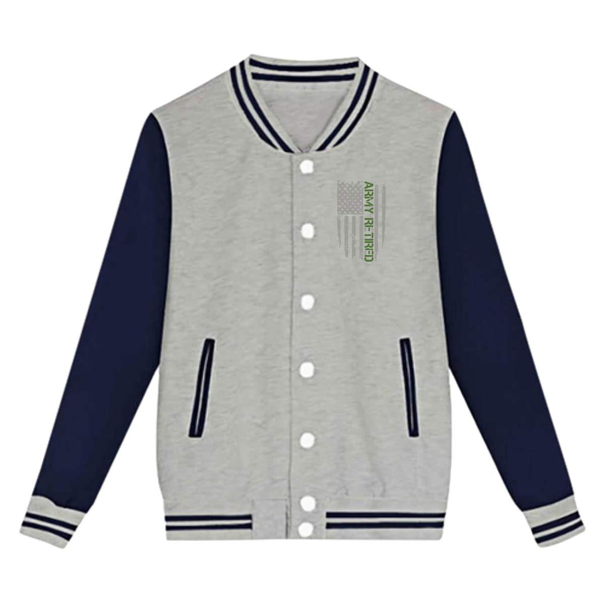 Tina TN Army Retired Flag Teens Boys Girl Varsity Baseball Jacket Long Sleeve Sport Baseball Uniform Jacket Coat Sweater Black