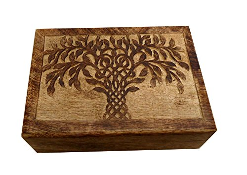 Icrafts Wooden Tree Of Life Carved Box/ Jewelry /Trinket/Keepsake/Storage Box |Handmade| (7 X 5 in)