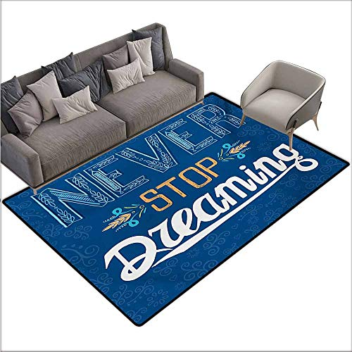 (Door Rug for Internal Anti-Slip Rug Quote Floral Arrangement Never Stop Dreaming Calligraphic Design Ornate Retro Leaf Durable W78 xL118 Royal Blue Yellow)
