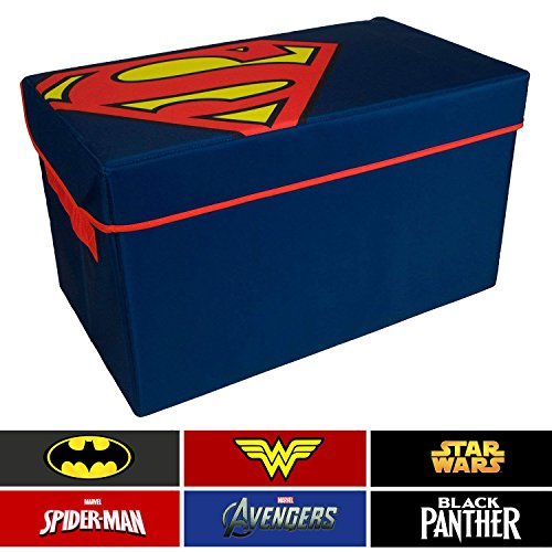 Superman Collapsible Kids Toy Storage Chest by DC Comics- Flip-Top Toy Organizer Bin for Closets, Kids Bedroom, Boys & Girls Toys - Foldable Toy Basket Organizer with Strong Handles & Design