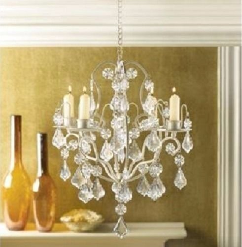 Luxury Crystal Taper Candle Holder Chandelier Hanging Light Home Decor Accent
