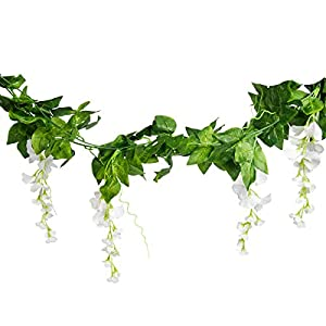 Mavee 4 Pcs 7.2 Feet Artificial Flower Vine Silk Wisteria Garland Hanging Rattan with Ivy Leaf for Wedding Home Decor (White) 5