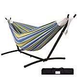 Lazy Daze Hammocks Double Hammock with Space Saving Steel Stand Includes Portable Carrying Case, 450 Pounds Capacity