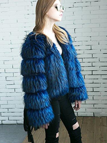 LLQ Abrigo Negro Azul Mujer Piel Long Caliente Piel Chaqueta Mujer Invierno Ropa Abrigo Pelo para Mujer Invierno Section Abrigo XqwUxrAXT