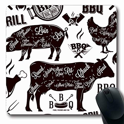 Ahawoso Mousepads for Computers Barbecue Beef Meat Cuts Wildlife BBQ Food Pattern Drink Cow Butcher Brisket Organic Pig Design Oblong Shape 7.9 x 9.5 Inches Non-Slip Oblong Gaming Mouse Pad