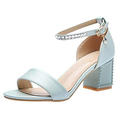 8acefbae7c7 Coolcept Women Fashion Summer Shoes Block Heel Sandals Buckle Blue Size 34  Asian