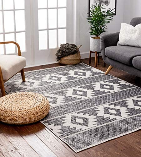 Well Woven Povie Grey Southwestern Flatweave Diamond Medallion Pattern Area Rug 3×5 3'11″ x 5'3″