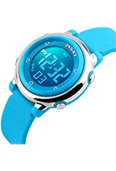 USWAT® Children Digital Watch Outdoor Sports Watches Boy Kids Girls LED Alarm Stopwatch Wrist watch Children's Dress Wristwatches Blue