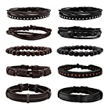 MILAKOO 10 Pcs Braided Leather Bracelets for Men Women Woven Cuff Bracelet Adjustable