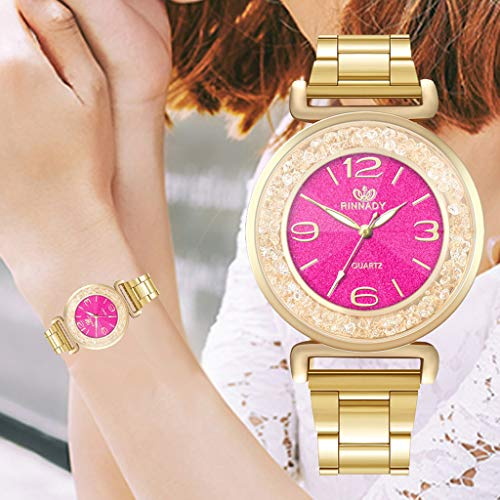 Round Shining Dial (Aobiny Fashion Women's Crystal Stainless Steel Analog Quartz Wrist Watch Bracelet (Hot Pink))
