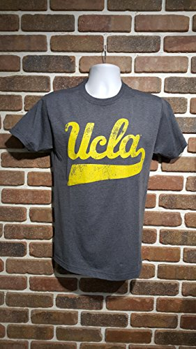 E5 UCLA Triblend TEE Shirt Charcoal with Yellow Script Distressed Logo and Bear Head in The Back (xx-Large) (Logo Tee Head)