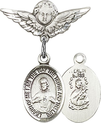 Sterling Silver Baby Badge Cherub Angel Pin with Scapular Charm, 3/4 Inch
