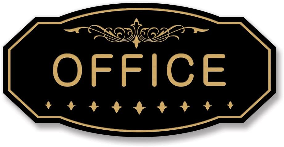 "Office Victorian Door/Wall Sign (Black/Gold) - Large 5"" x 10"""