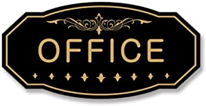 """Office Victorian Door/Wall Sign (Black/Gold) - Large 5"""" x 10"""""""
