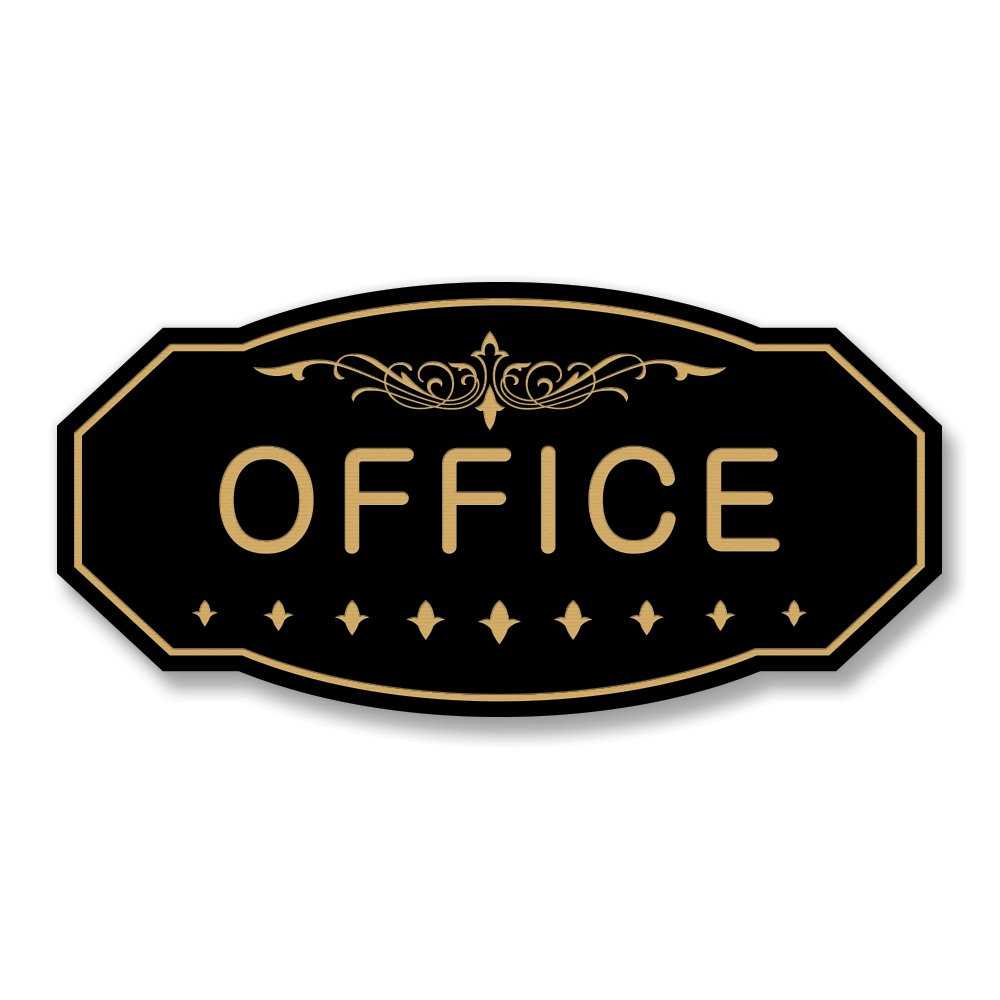 OFFICE Victorian Door / Wall Sign (Black / Gold) - Large 5'' x 10''