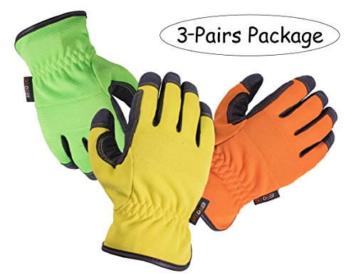 Freedom Synthetic Leather - SKYDEER Garden Gloves - Armprotec Protective Synthetic Leather WorkPRO Safety Work Glove for Daily Use Like Gardening, Yard work and More(3-Pairs Value Pack M)