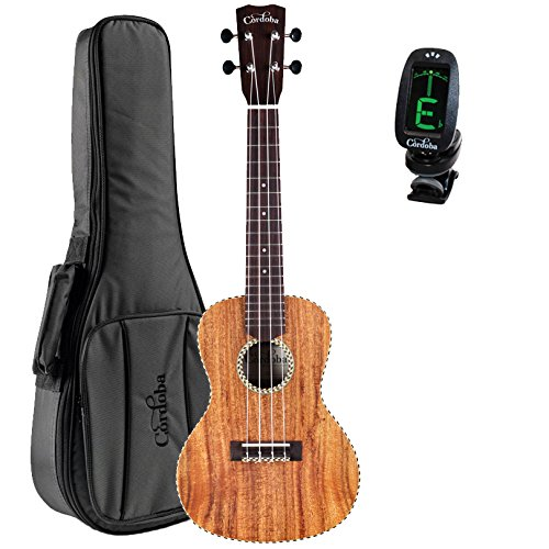 Cordoba 25C Solid Top Concert Ukulele with Deluxe Gig Bag and Cordoba Clip-on Tuner (Series 25c)