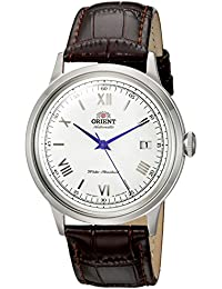 Men's '2nd Gen. Bambino Ver. 2' Japanese Automatic Stainless Steel and Leather Dress Watch, Color:Brown (Model: FAC00009W0)