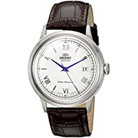 Orient Men's '2nd Gen. Bambino Ver. 2' Japanese Automatic Stainless Steel and Leather Dress Watch, Color:Brown (Model: FAC00009W0)