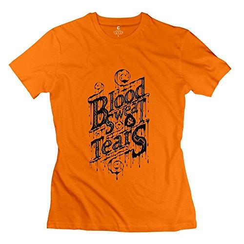 YIRONG Women's Blood Sweat And Tears T-shirt Size M Orange