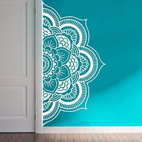 Wall Decal Half Mandala Headboard Wall Sticker Yoga Boho Indian OM Mandala Flower Wall Sticker Art Living Room Interior Bed Decor Sticker Mural Y022 (57X109CM, White) (Wall Decal Mandala)